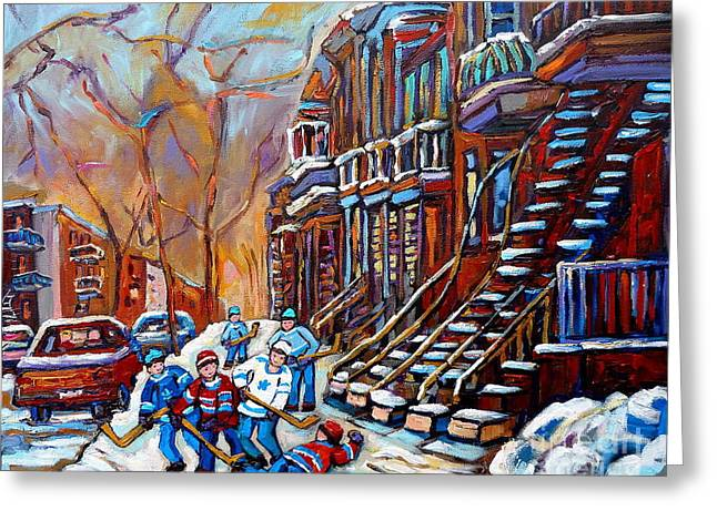 The Plateaus Paintings Greeting Cards - Staircase Paintings - Verdun - Rosemont -  Plateau Mont Royal - St. Henri - Hockey Scenes Greeting Card by Carole Spandau