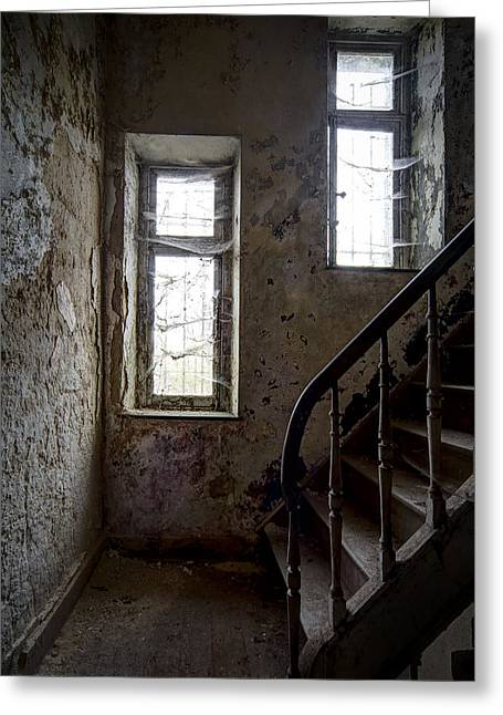 Haunted Castle Greeting Cards - Staircase Spider Web Haunted Spooky Castle Greeting Card by Dirk Ercken