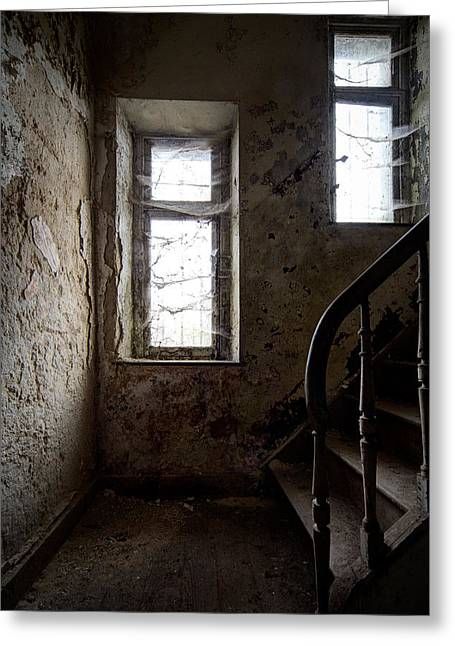 Haunted Castle Greeting Cards - Staircase Spiders Web Abandoned Places. Greeting Card by Dirk Ercken