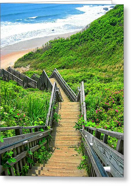 Wooden Stairs Greeting Cards - Staircase To Gem Greeting Card by Lourry Legarde