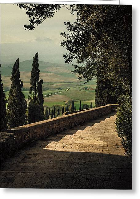 Staircase To Pienza Greeting Card by Clint Brewer