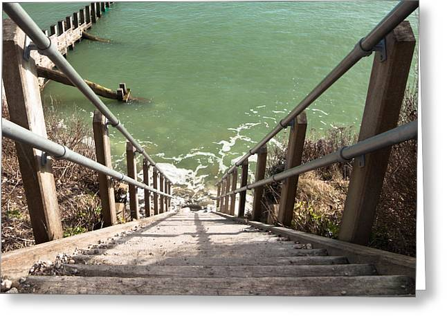 Wooden Stairs Greeting Cards - Staircase to the sea Greeting Card by Jan Mika