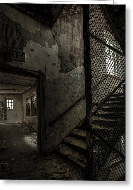 Ghost Story Greeting Cards - Stairs And Corridor Inside An Abandoned Asylum Greeting Card by Gary Heller