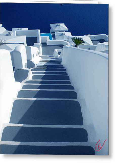 Sunset Posters Greeting Cards - Stairs down to oceon Santorini Greeting Card by Colette V Hera  Guggenheim