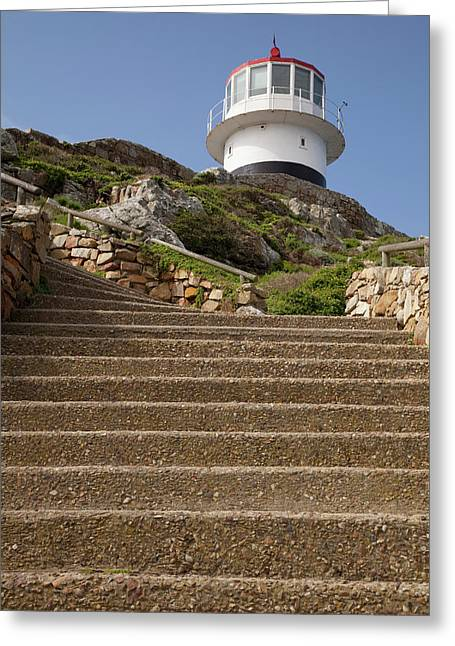 Stairs Leading To Lighthouse Atop Hill Greeting Card by Jaynes Gallery