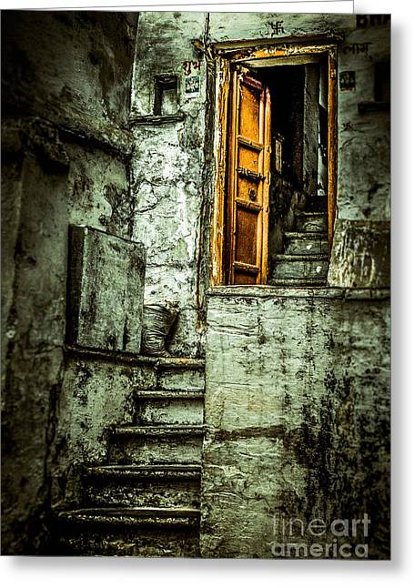 Wooden Stairs Greeting Cards - Stairs leading to the old door Greeting Card by Catherine Arnas
