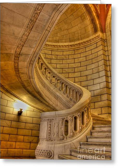Stairs Of Mythical Proportion Greeting Card by David Bearden