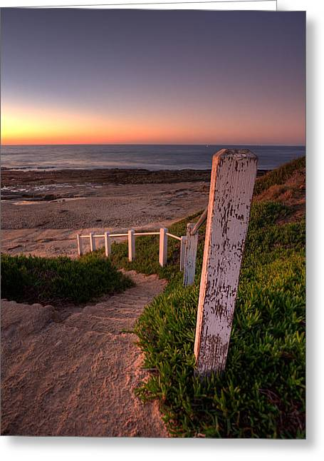 Tidepools Greeting Cards - Stairs to Dusk Greeting Card by Peter Tellone