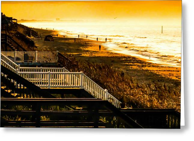 Foggy Ocean Greeting Cards - STAIRS to HEAVEN on EARTH Greeting Card by Karen Wiles