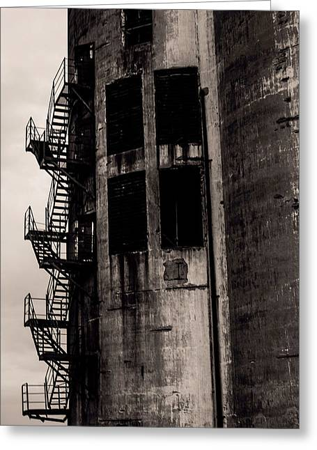 Old Feed Mills Photographs Greeting Cards - Stairs to Nowhere Greeting Card by Jim Markiewicz