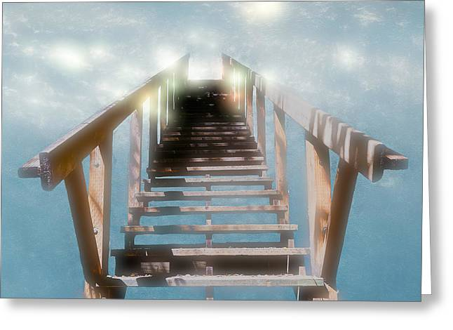 Wooden Stairs Greeting Cards - Stairs to Nowhere Greeting Card by Mike Gifford