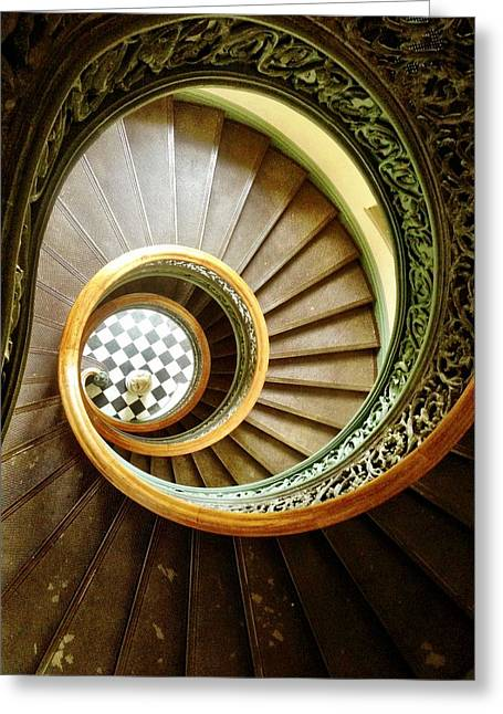 Victorian Pyrography Greeting Cards - Stairs to Nowhere Greeting Card by Shannon OBrien