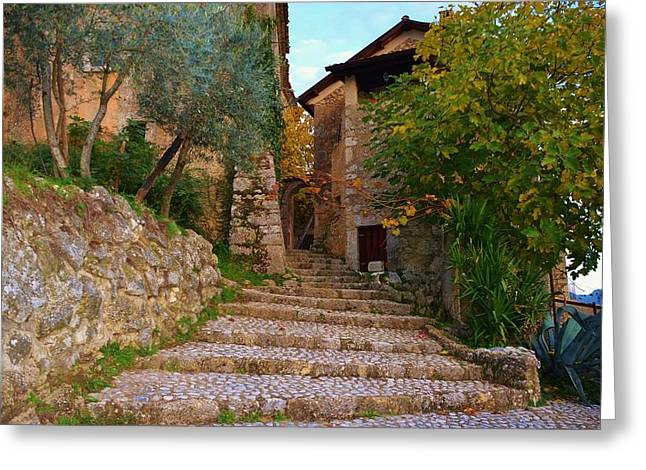 North Italian Town Greeting Cards - Stairs to the village Greeting Card by Dany  Lison
