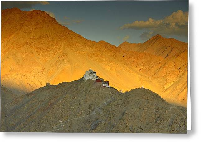 Scenery Greeting Cards - Stairs to Tsemo Greeting Card by Aaron S Bedell