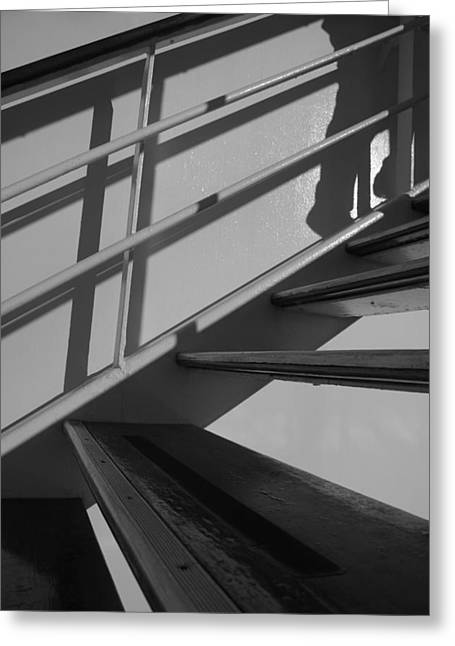 Wooden Stairs Greeting Cards - Up He Goes - bw Greeting Card by Marilyn Wilson