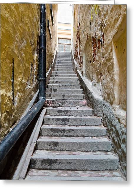 Residential District Greeting Cards - Stairway Along Walls, Gamla Stan Greeting Card by Panoramic Images
