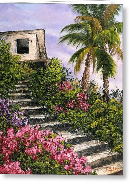 Shack Greeting Cards - Stairway Garden Greeting Card by Darice Machel McGuire