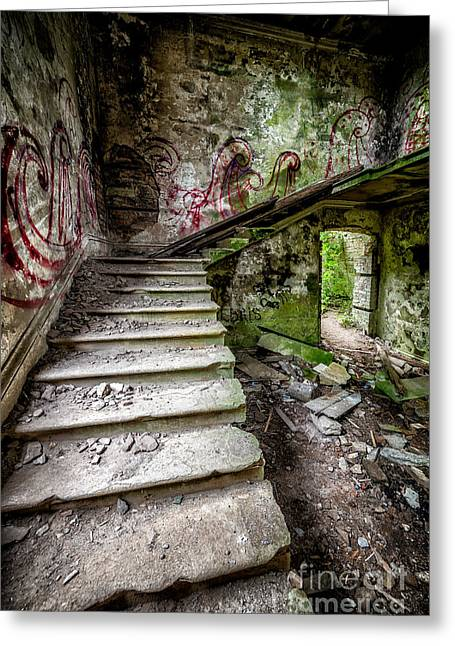 Dilapidated Digital Art Greeting Cards - Stairway Graffiti Greeting Card by Adrian Evans