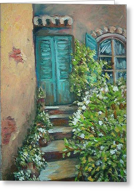 Entryway Paintings Greeting Cards - Stairway in Mexico Greeting Card by Charme Curtin