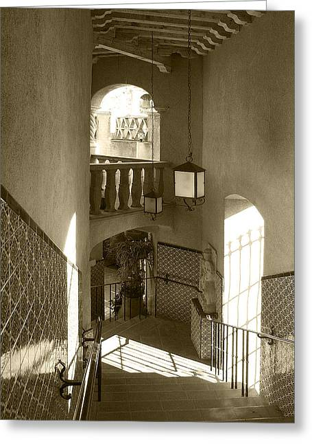 Sunlit Door Greeting Cards - Stairway - In Sepia Greeting Card by Ben and Raisa Gertsberg
