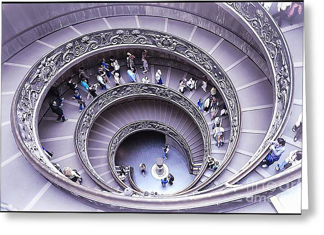 Spiral Staircase Paintings Greeting Cards - Stairway in Vatican Museum Greeting Card by Stefano Senise