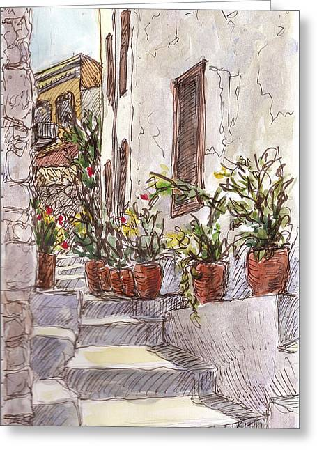 Dodecanese Greeting Cards - Stairway Greeting Card by Sharon McNeil