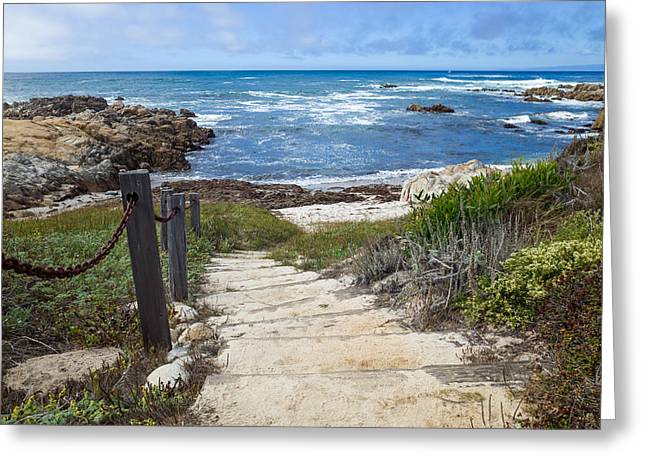 Ghose Greeting Cards - Stairway To Asilomar State Beach Greeting Card by Priya Ghose