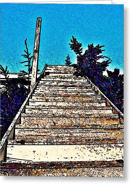 Wooden Stairs Greeting Cards - Stairway To Blue Greeting Card by Stanley  Funk