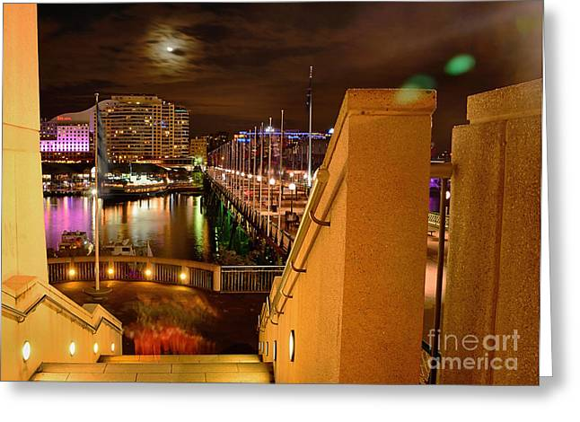 Darling Harbour Greeting Cards - Stairway to Darling Harbour during Vivid Sydney 2014 Greeting Card by Kaye Menner