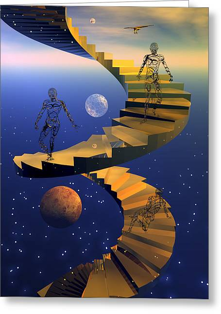 Scifi Greeting Cards - Stairway to imagination Greeting Card by Claude McCoy