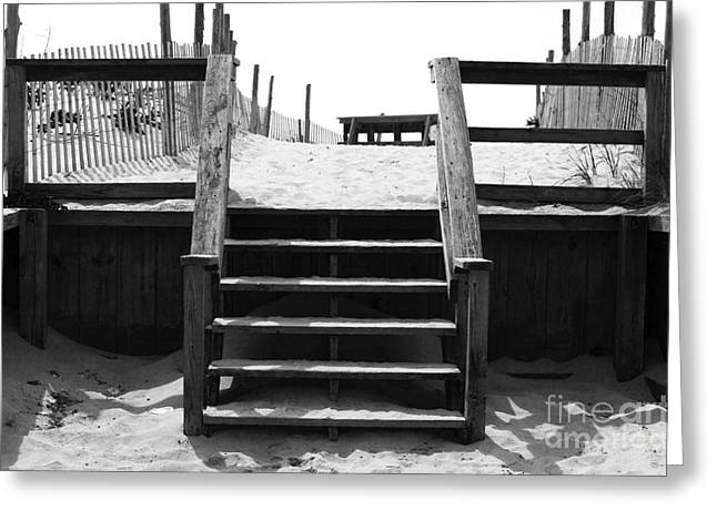 Blue Sky And Sand Greeting Cards - Stairway to LBI Heaven Greeting Card by John Rizzuto