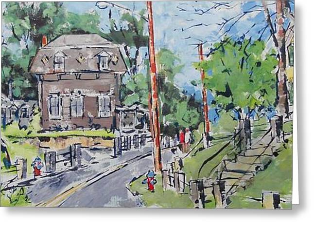 New England Village Drawings Greeting Cards - Stairway To Mason Hall Greeting Card by Larry Lerew