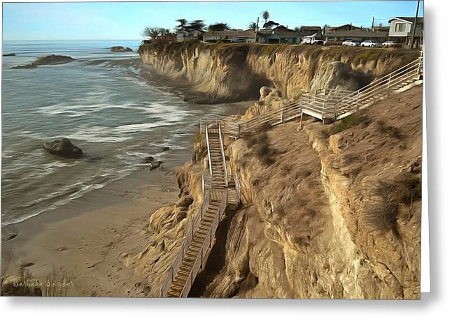 California Ocean Photography Paintings Greeting Cards - Stairway To Pismo Beach Greeting Card by Barbara Snyder
