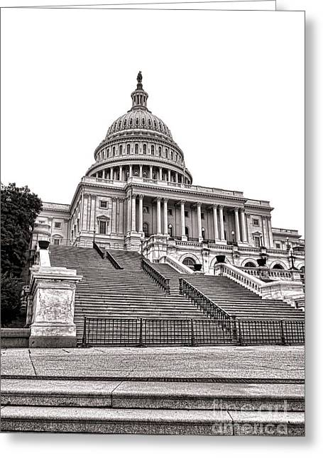 Capitol Greeting Cards - Stairway to Power   Greeting Card by Olivier Le Queinec