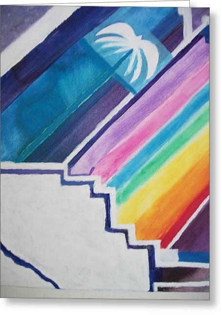 Chakra Rainbow Greeting Cards - Stairway to Rainbow Palm Greeting Card by Leonardo Vidal