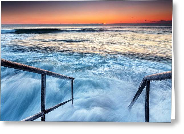 Black Sea Greeting Cards - Stairway To Sea Greeting Card by Evgeni Dinev