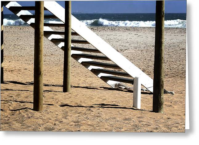 Wooden Stairs Greeting Cards - Stairway to summer  Greeting Card by A Rey