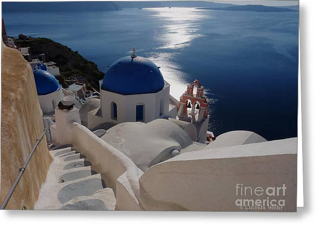 Lucinda Walter Greeting Cards - Stairway to the Blue Domed Church Greeting Card by Lucinda Walter