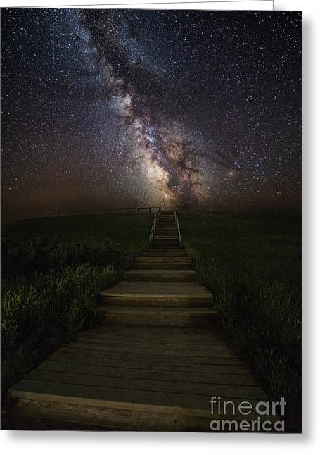 Nightscapes Greeting Cards - Stairway to the Galaxy Greeting Card by Aaron J Groen