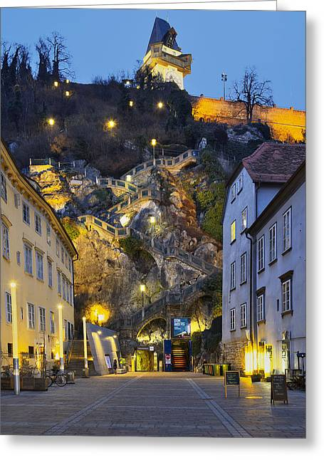 Styria Greeting Cards - Stairway to the Graz Clock tower Greeting Card by Ivan Slosar