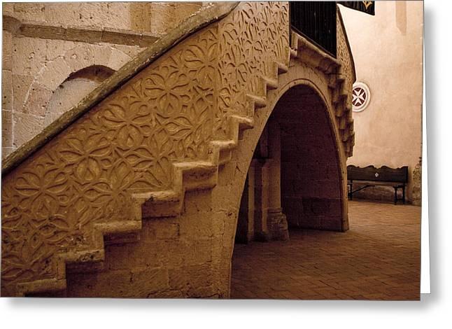 True Cross Photographs Greeting Cards - Stairway to the Hidden Altar Greeting Card by Lorraine Devon Wilke