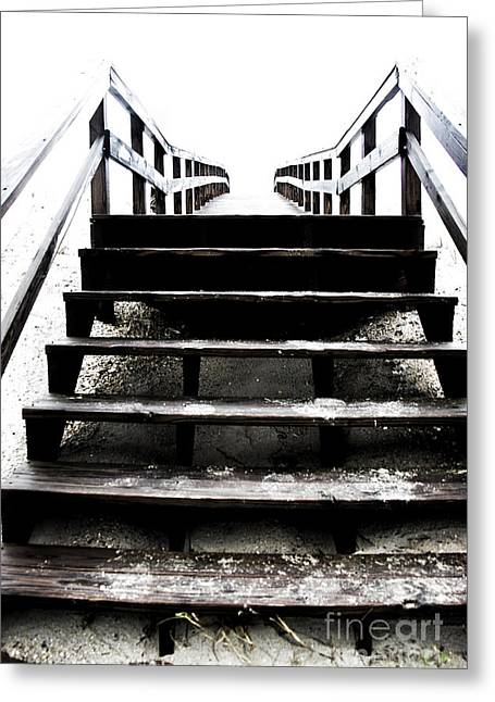 Wooden Stairs Greeting Cards - Stairway To The Light Greeting Card by Tom Gari Gallery-Three-Photography
