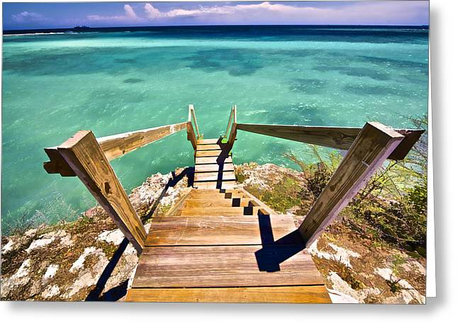 Wooden Stairs Greeting Cards - Stairway to the Sea Greeting Card by David Letts