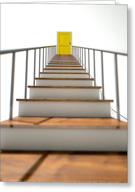 Aiming Greeting Cards - Stairway To Yellow Door Greeting Card by Allan Swart