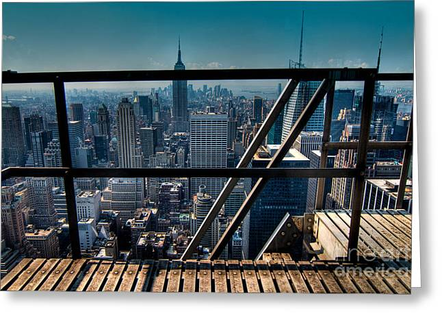 Top Of The Rock Greeting Cards - Stairways on top of Rockefeller Center Greeting Card by Amy Cicconi