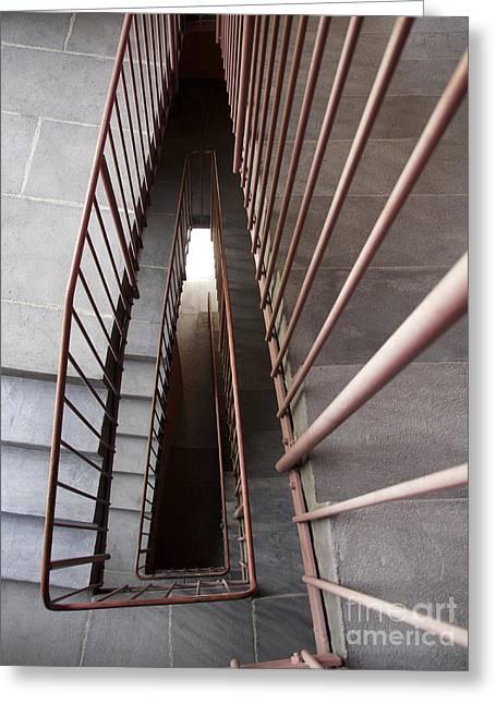Stepping Stones Greeting Cards - Stairwell Greeting Card by Bernard Jaubert