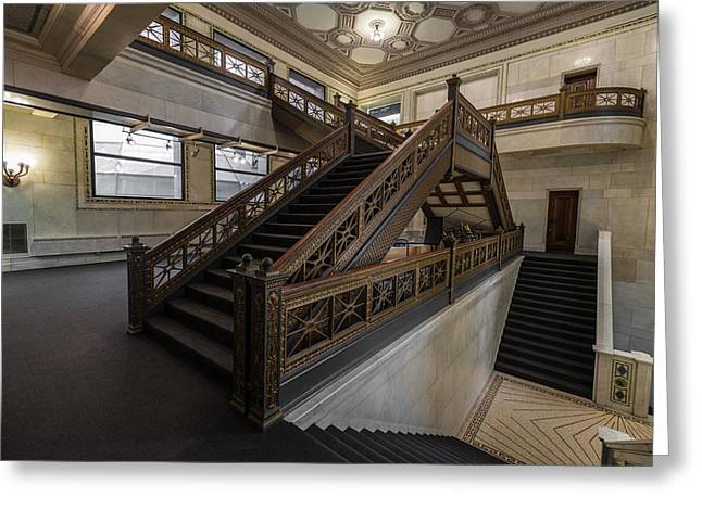 Stairwell Chicago Cultural Center Greeting Card by Steve Gadomski