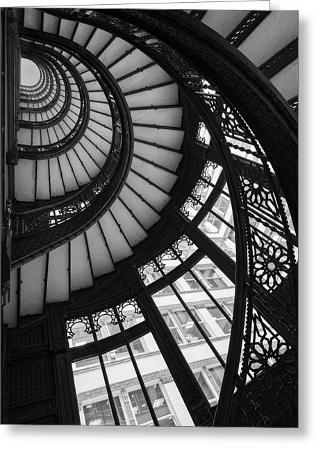 Stairwell The Rookery Chicago Il Greeting Card by Steve Gadomski