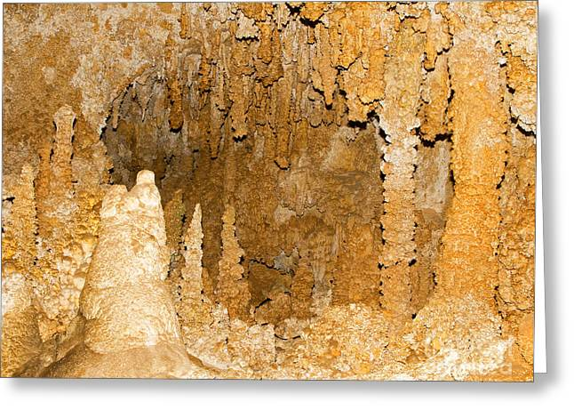 Cavern Greeting Cards - Stalagmite Formations In Carlsbad Greeting Card by Millard H. Sharp