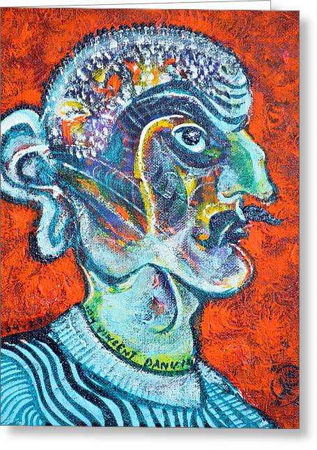 Fanatic Paintings Greeting Cards - Stalinist With Big Ear Greeting Card by Ion vincent DAnu